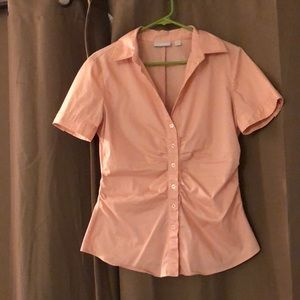 Pink cinched button down blouse